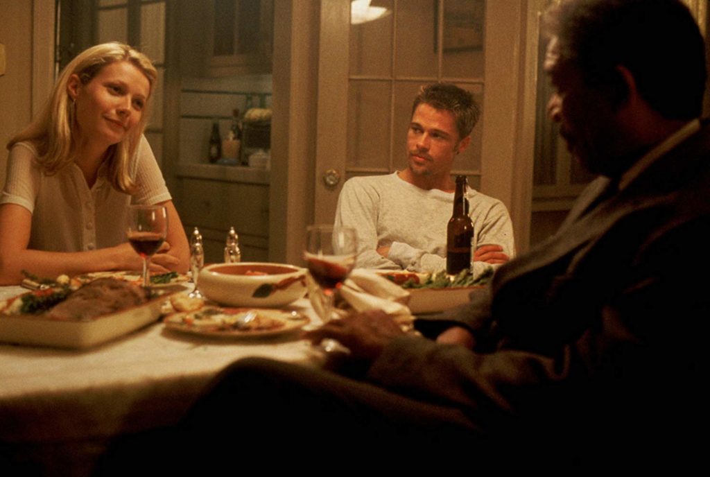 Brad Pitt, Morgan Freeman, and Gwyneth Paltrow in Se7en (1995)-cinemabaaz.xyz