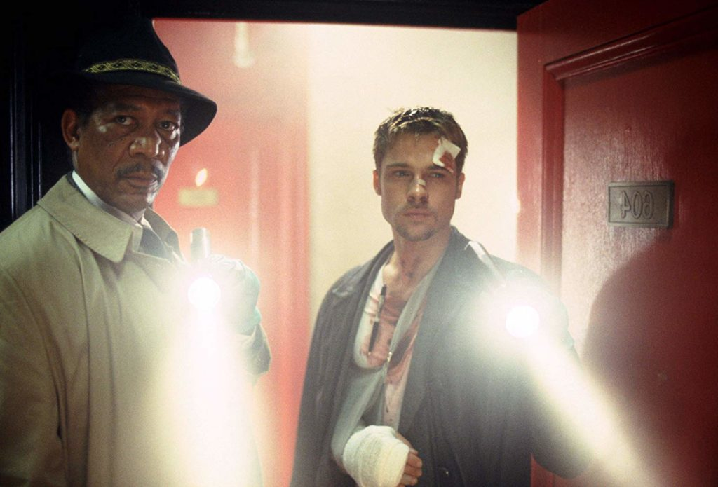 Brad Pitt and Morgan Freeman in Se7en (1995)-cinemabaaz.xyz